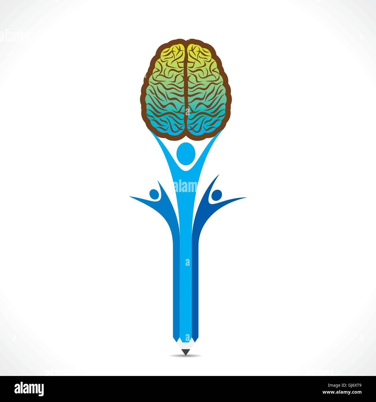 Les gens créatifs tenir le cerveau concept vector Photo Stock