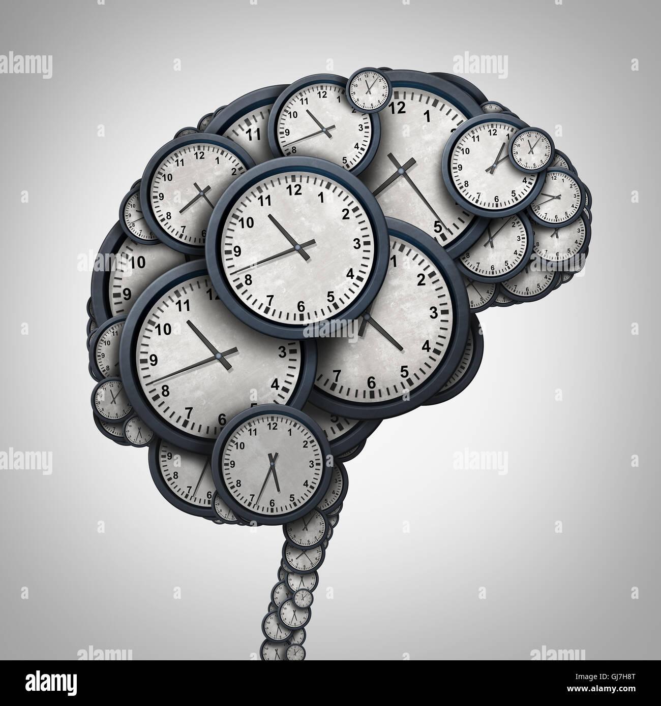 Temps de pensée par cerveau global concept comme un groupe d'objets de l'horloge en forme de l'esprit Photo Stock