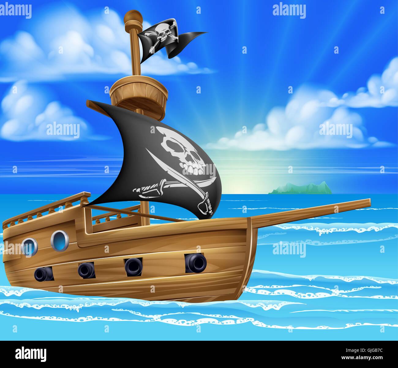 Un Dessin Bateau Pirate Bateau Naviguant Dans L Ocean Avec Jolly Roger Le Crane Et Os Croises D Un Drapeau Photo Stock Alamy