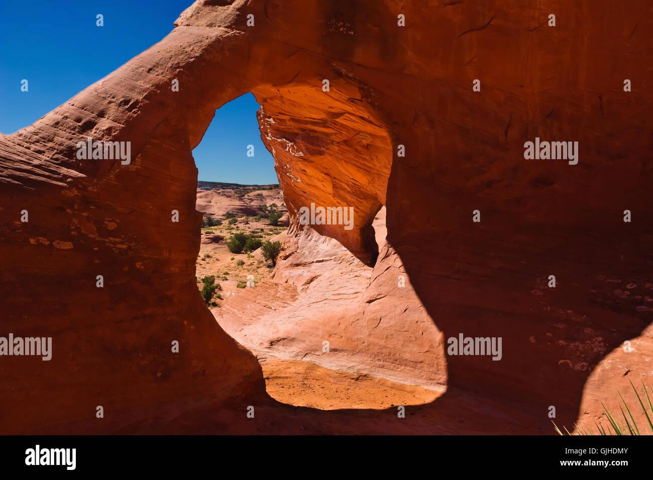Maison Carrée arch rock formation, vallée de mystère, Arizona, États-Unis d'Amérique Photo Stock