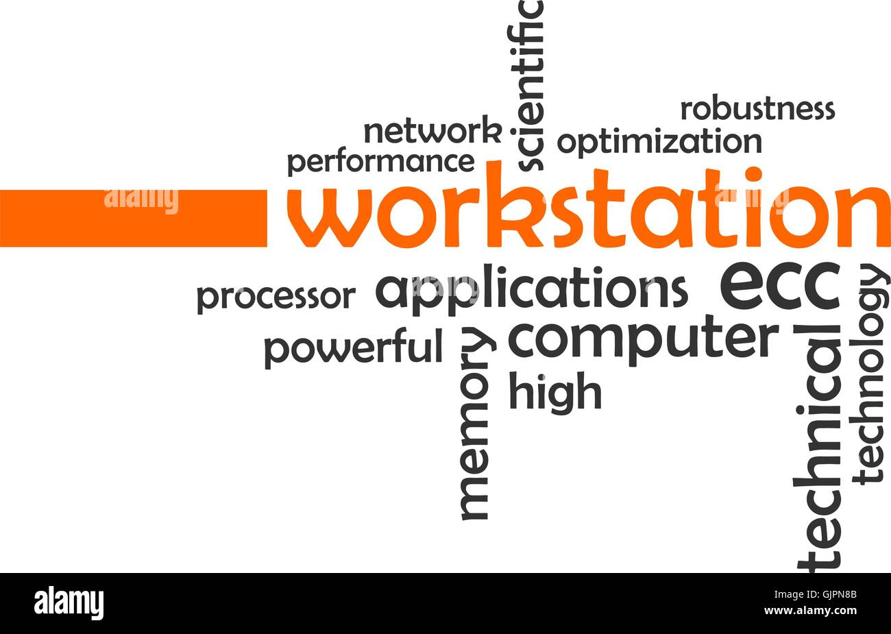 Nuage de mots - workstation Photo Stock