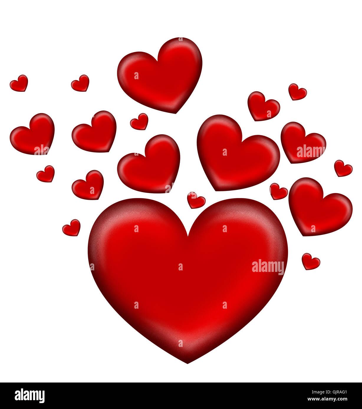 Coeurs l'amour en amour Photo Stock