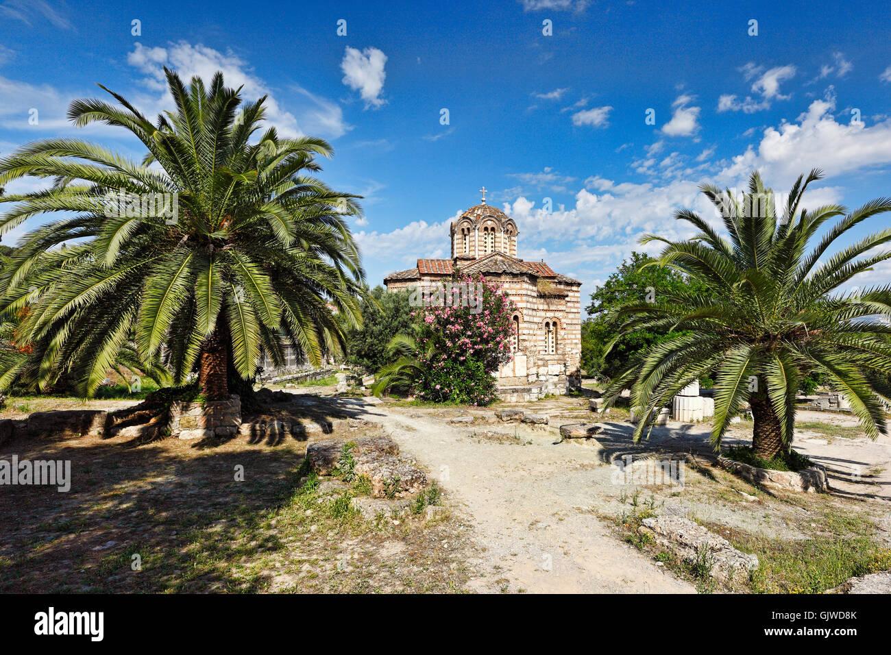 Église Agii Apostoli Solaki (10e c. A.D.) dans l'ancienne agora d'Athènes, Grèce Photo Stock