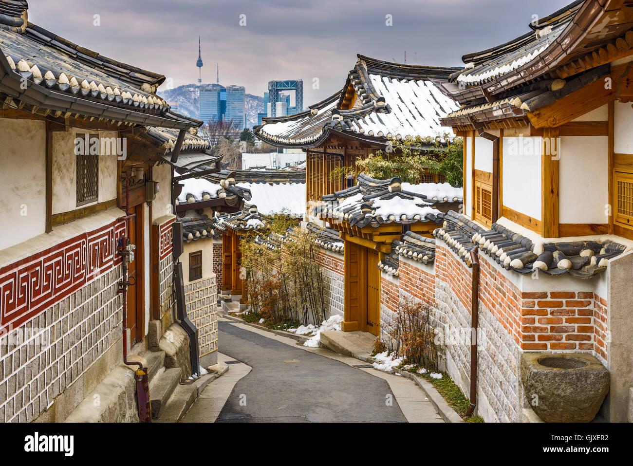 Séoul, Corée du Sud, à l'arrondissement historique de Bukchon Hanok. Photo Stock
