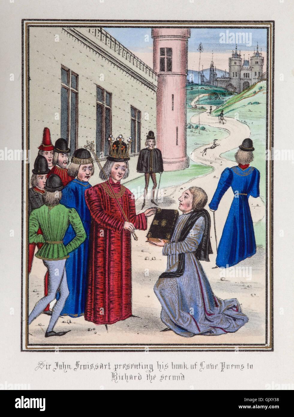 Jean Froissart présentant un livre de poèmes d'amour de Richard II d'Angleterre à la suite de l'écrivain dans sa déclaration en 1395. Banque D'Images