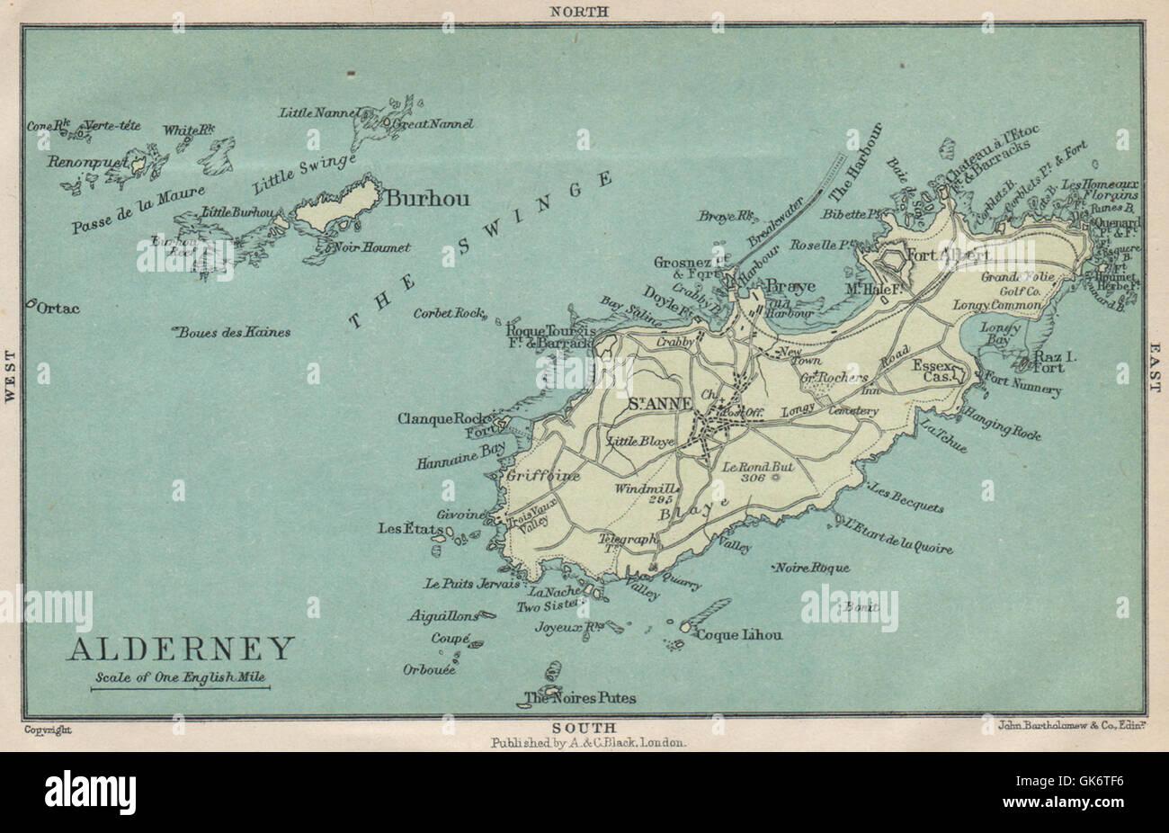 l 39 le d 39 aurigny st anne channel islands 1913 carte antique banque d 39 images photo stock. Black Bedroom Furniture Sets. Home Design Ideas