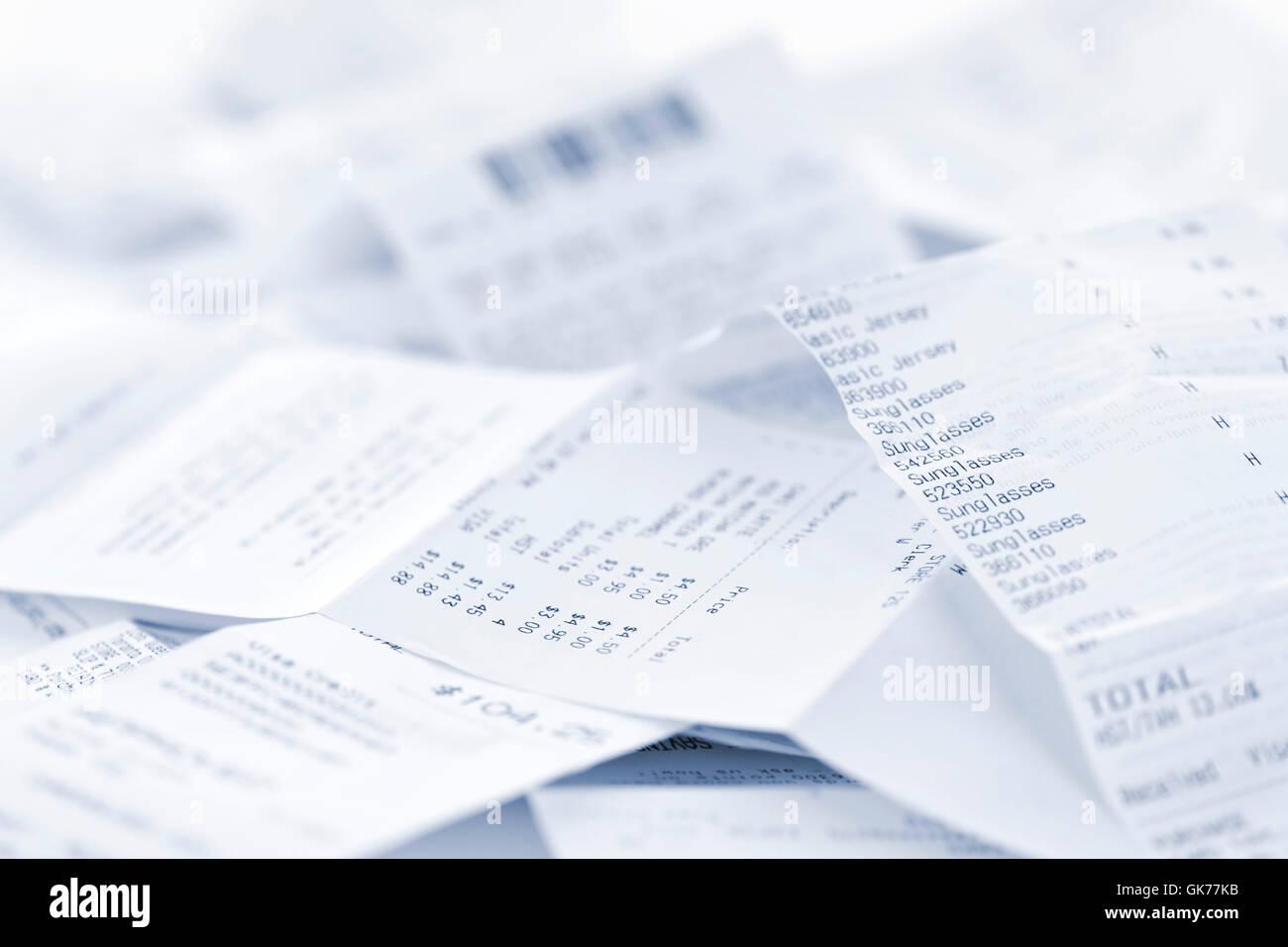 Les reçus d'achats gros plan Photo Stock