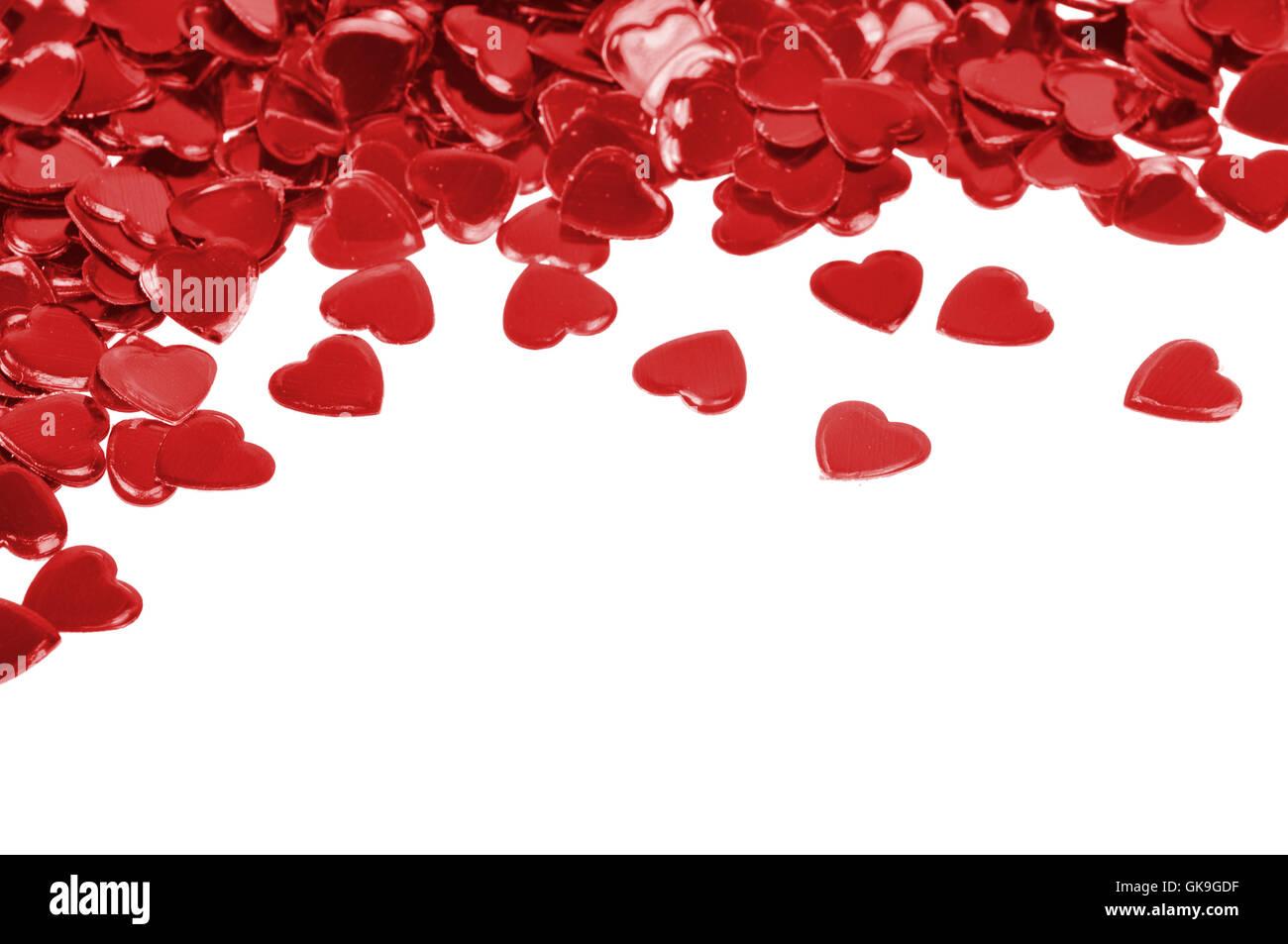 Confettis coeurs amour Photo Stock