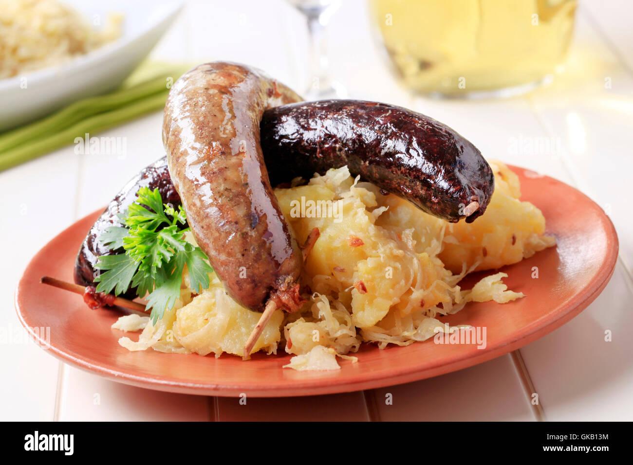 Boudin pommes de terre choucroute Photo Stock