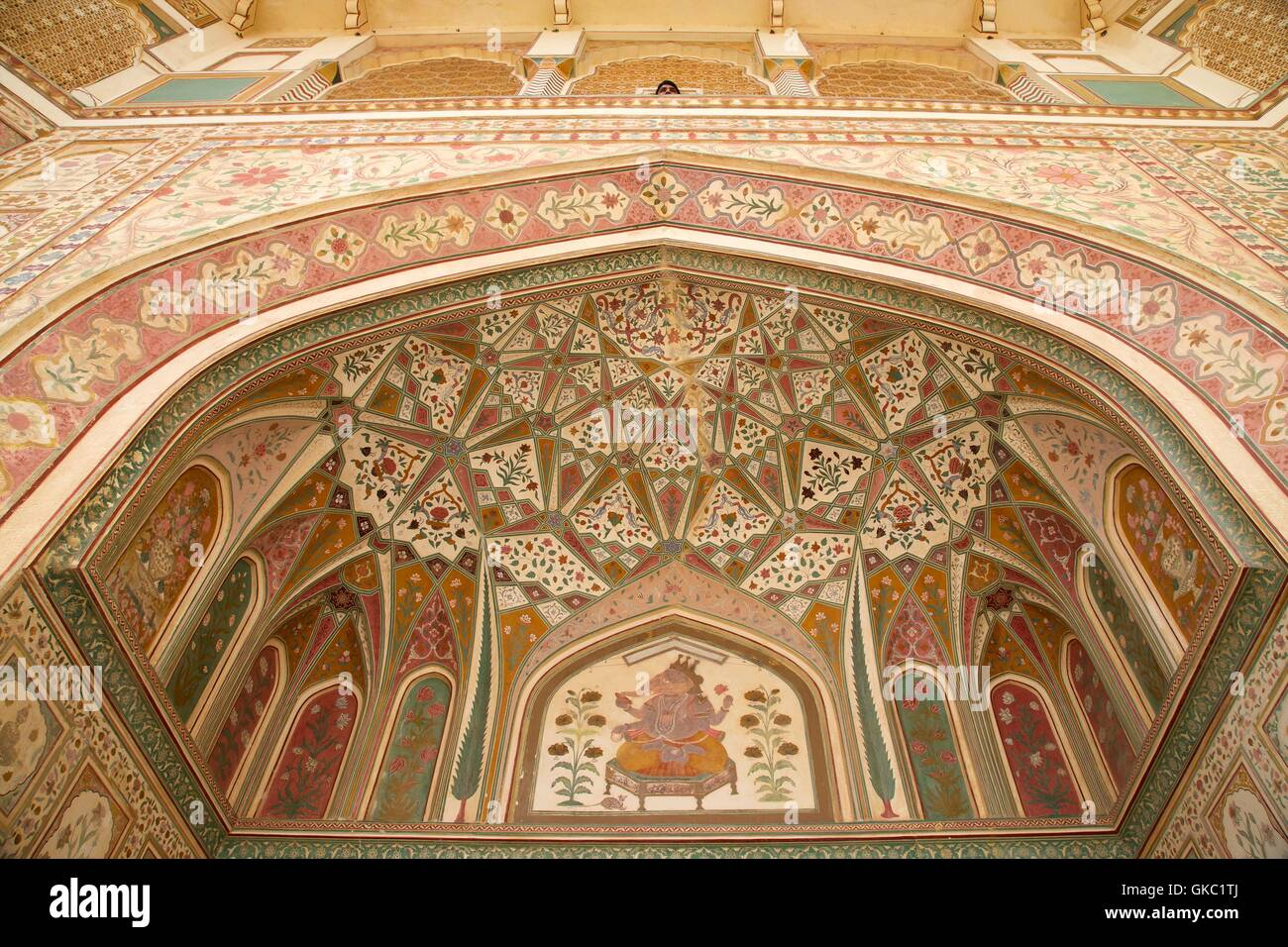 Ganesh bol porte, fort amber palace, Jaipur, Rajasthan, Inde, Asie Photo Stock