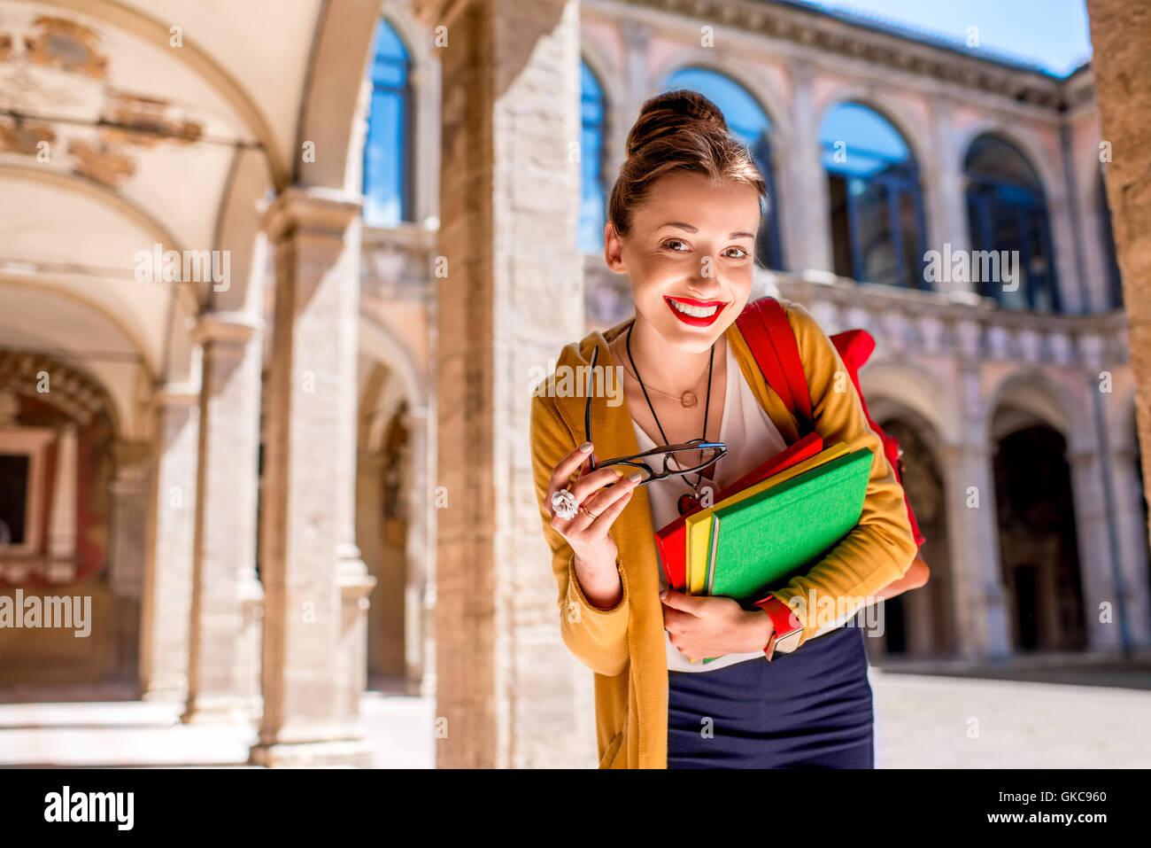 Élève de la plus ancienne université de Bologna City Photo Stock