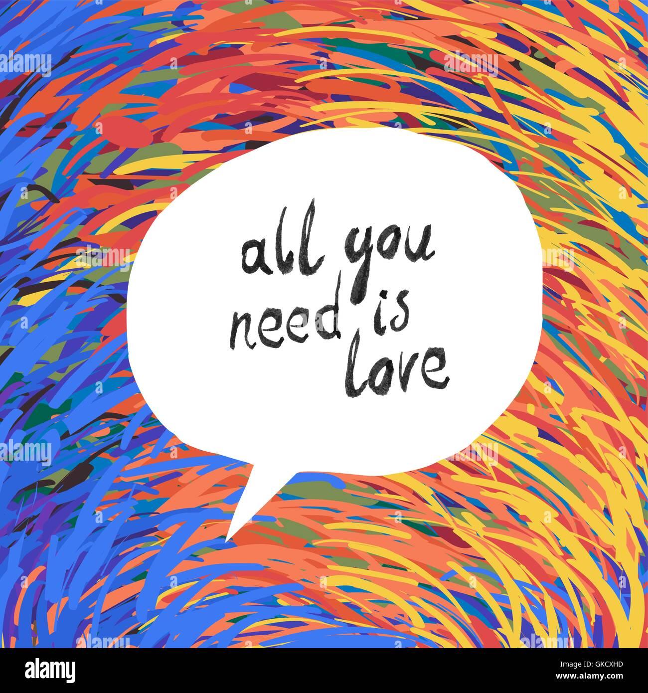 Tout ce qu'il vous faut, c'est l'amour Poster Illustration de Vecteur