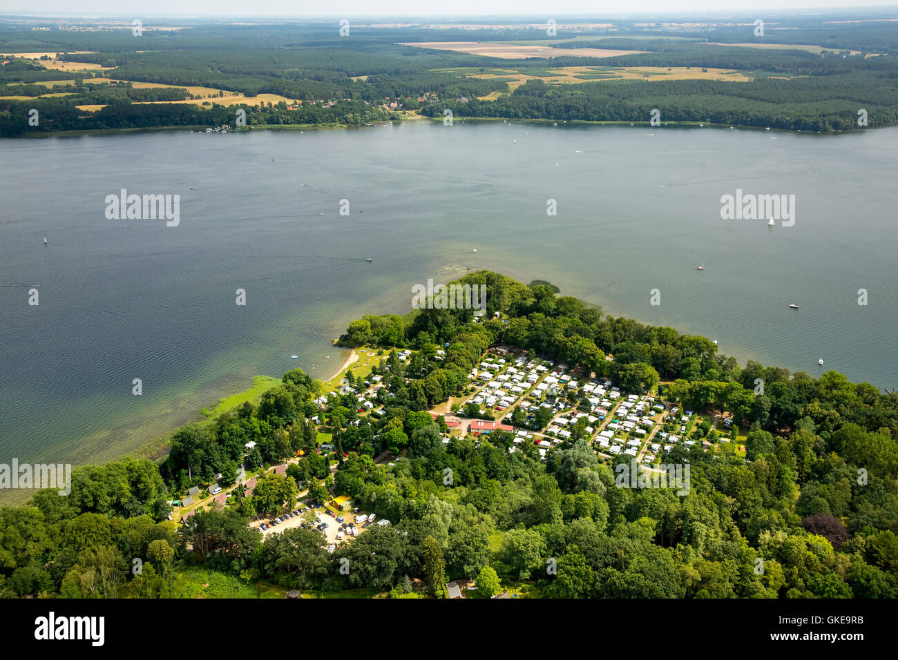 Vue aérienne, camping acclamation Plau, Plötzenhöhe et Pflug, Plau, Mecklenburg Lake District, Mecklenburgian, Photo Stock