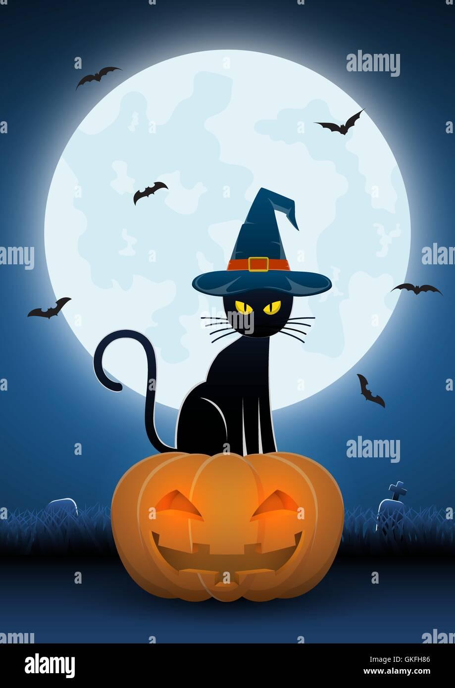 Chat noir portant des sorci res hat si ger t te de citrouille avec la pleine lune et les - Tete de citrouille ...