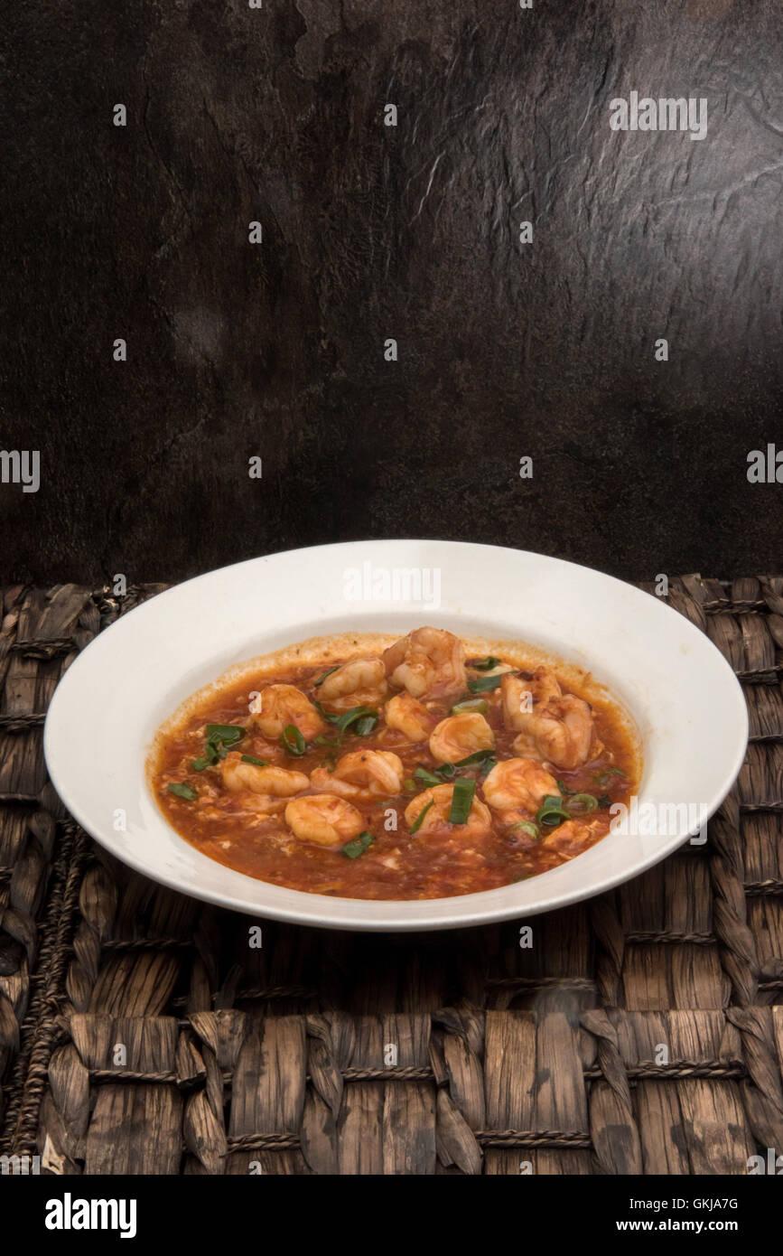 Sweet chili crevettes cuites style Singapourien Banque D'Images