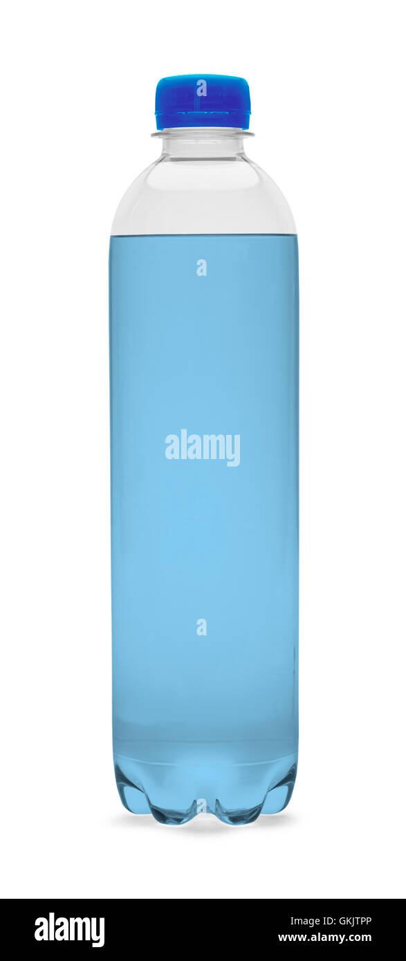Bouteille d'eau bleu isolé sur un fond blanc. Photo Stock