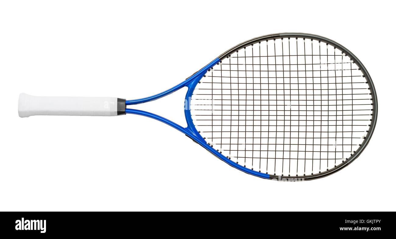 Nouveau Raquette de Tennis isolé sur fond blanc. Photo Stock