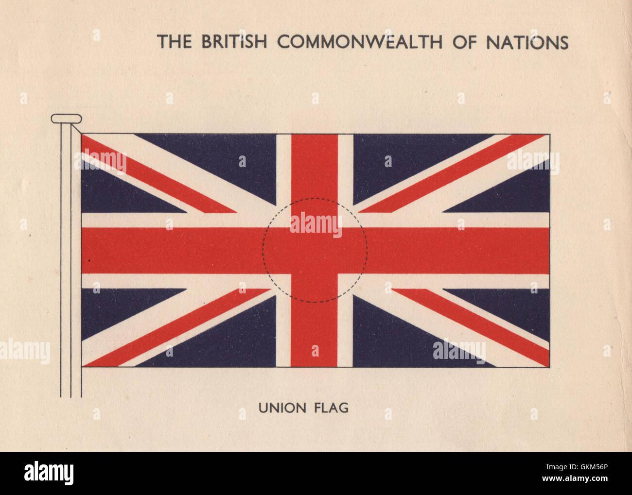 Drapeaux britanniques. Drapeau de l'Union européenne. Union Jack, vintage print 1958 Banque D'Images