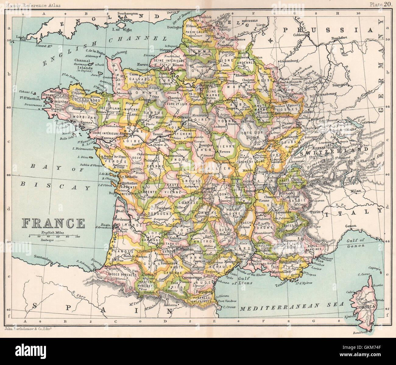 Carte Lalsace.La France Sans L Alsace Et Lorraine Bartholomew 1904 Carte