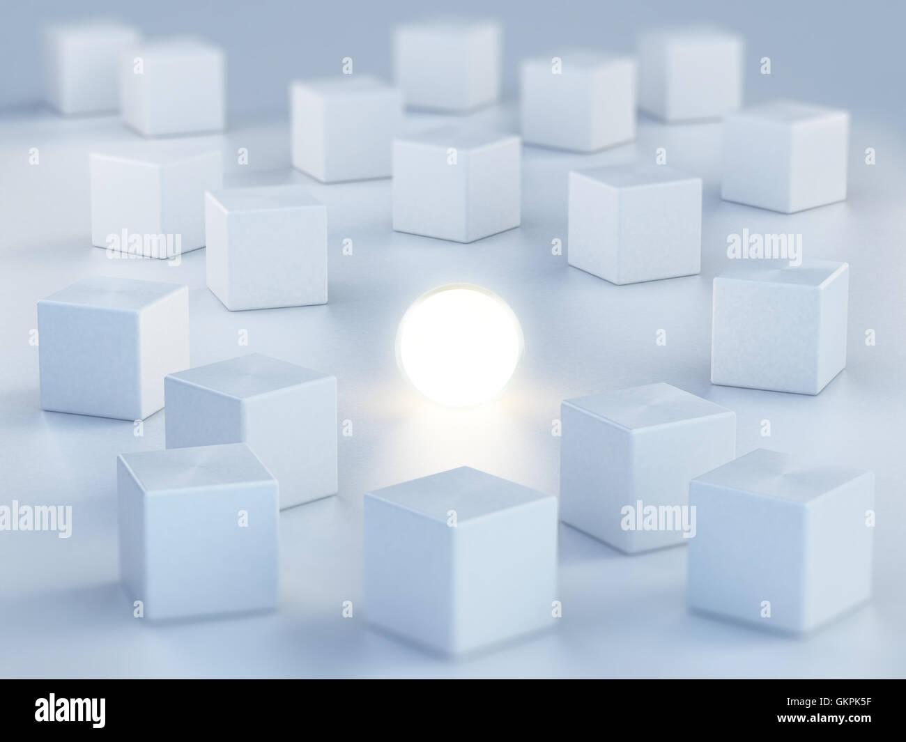 Sphere émettant de la lumière, parmi les boîtes. 3D illustration. Photo Stock