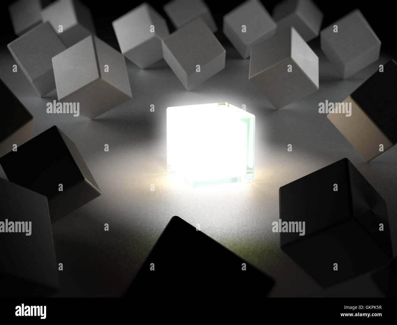 Fort émettant de la lumière, parmi les boîtes. 3D illustration. Photo Stock