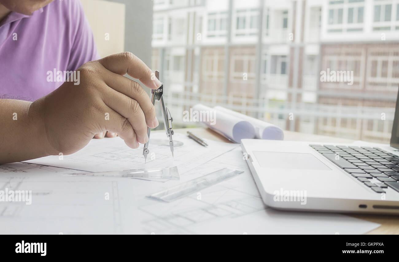Architecte, architecture, plan directeur, affaires, homme d'affaires, francs, occasionnels, café,construction,engineer Photo Stock