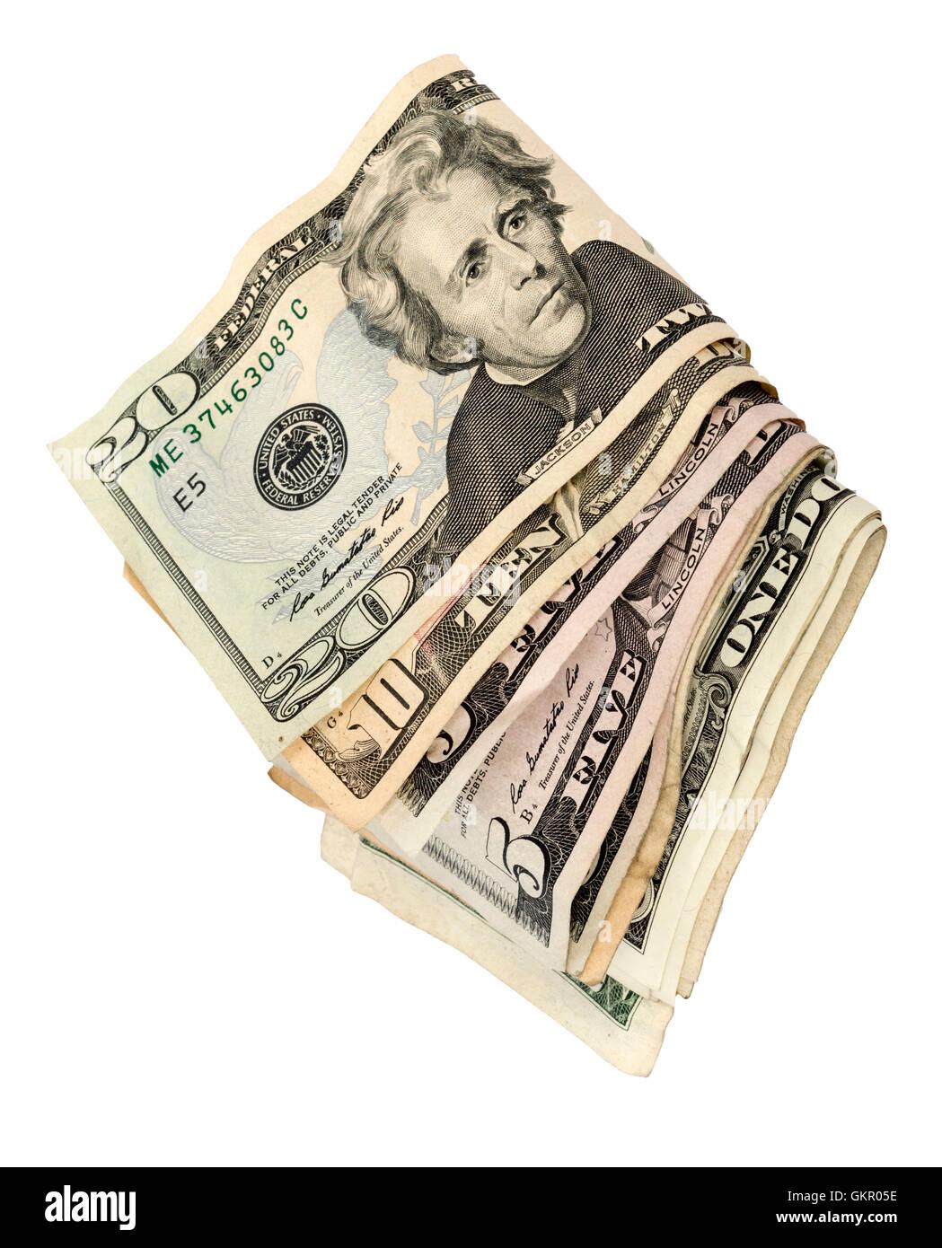 Liasse de trésorerie américains Isolated Banque D'Images