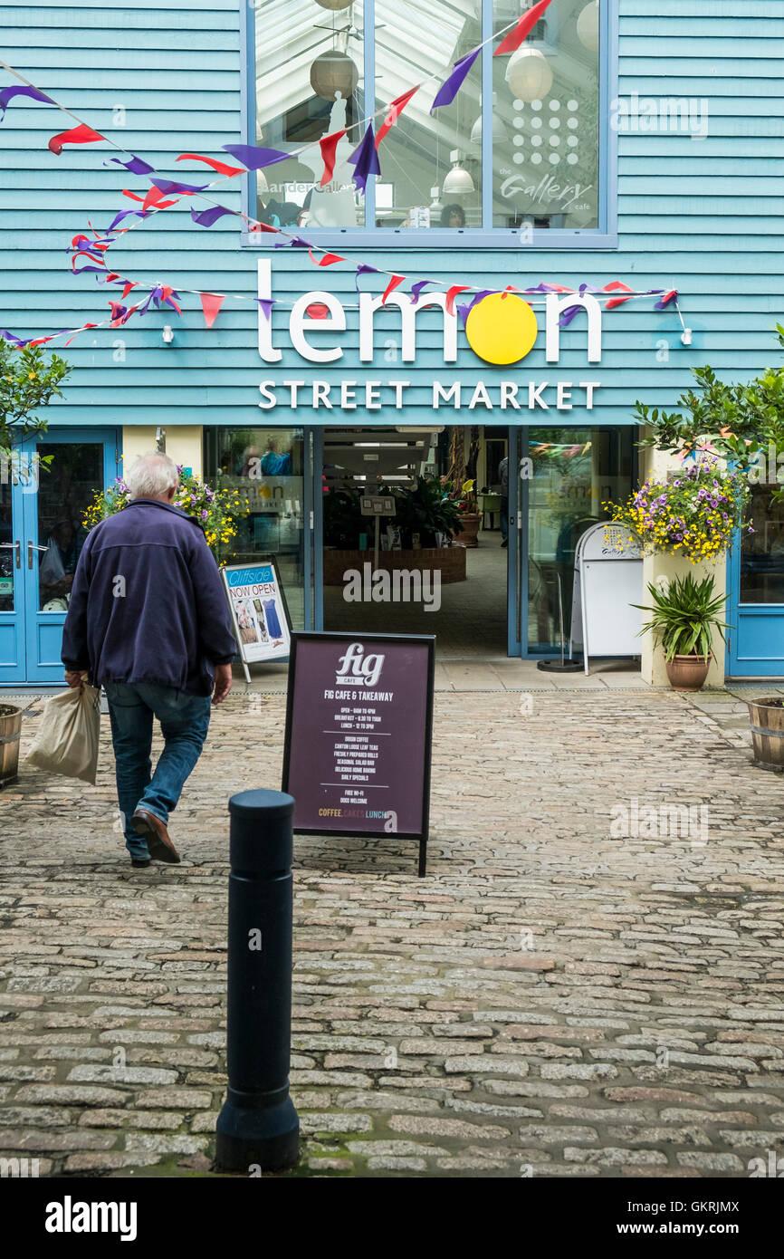 Marché de rue de citron à Truro. Photo Stock