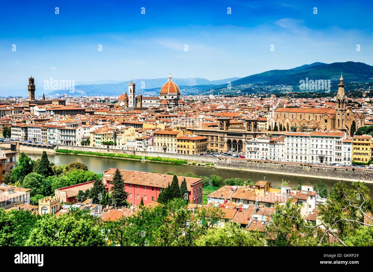 Florence, Italie. Paysage urbain d'été de l'italien ville Firenze, ville culturelle de la Toscane. Photo Stock