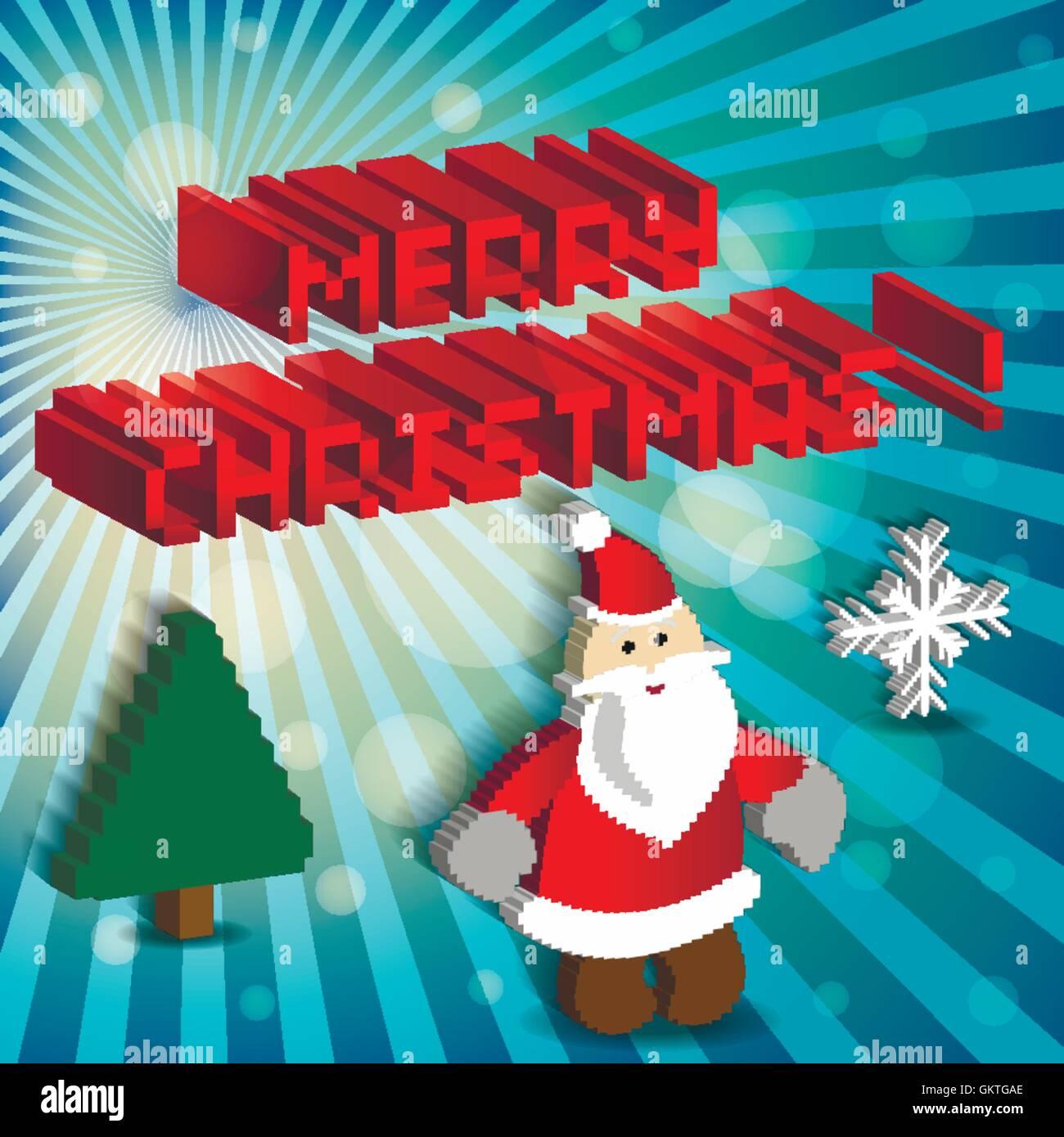 Pixel Art Ensemble Dicônes Avec Le Père Noël Vecteurs Et