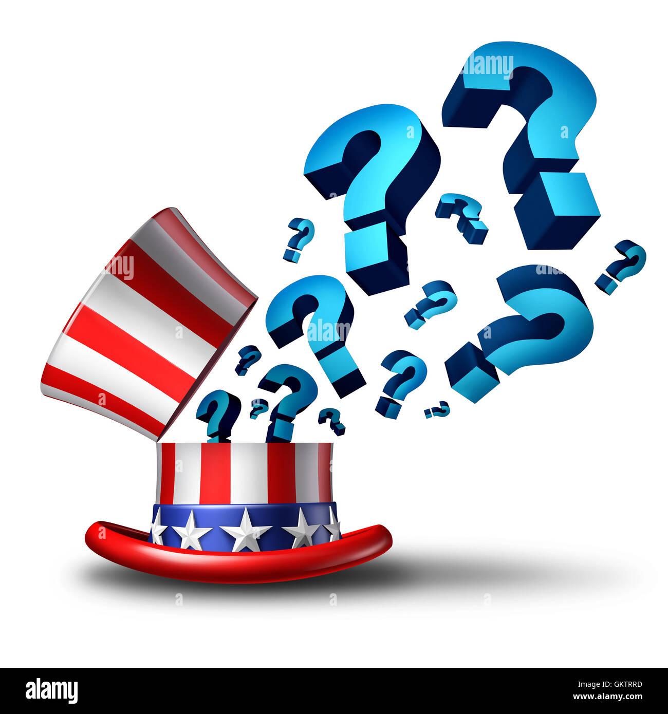 Question des États-Unis et le gouvernement américain en 3D illustration représentant la confusion Photo Stock