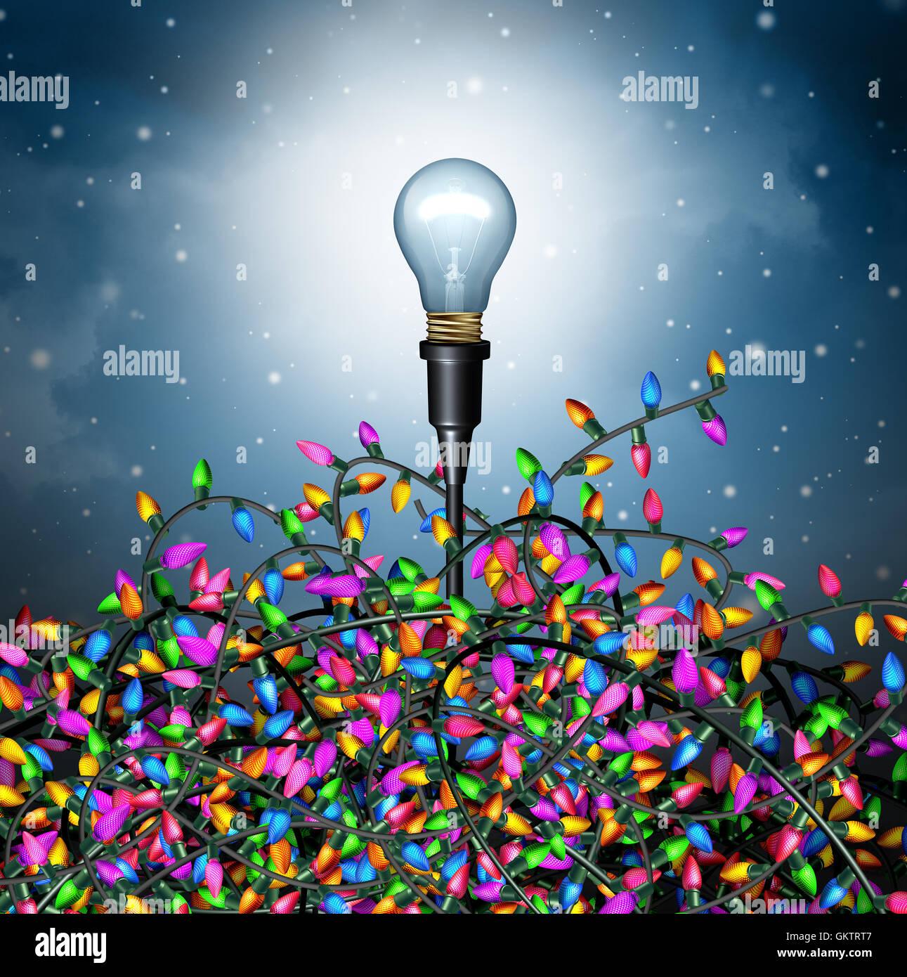 Idées de vacances d'hiver comme un concept de saison avec une ampoule qui sortent d'un groupe de lumières Photo Stock