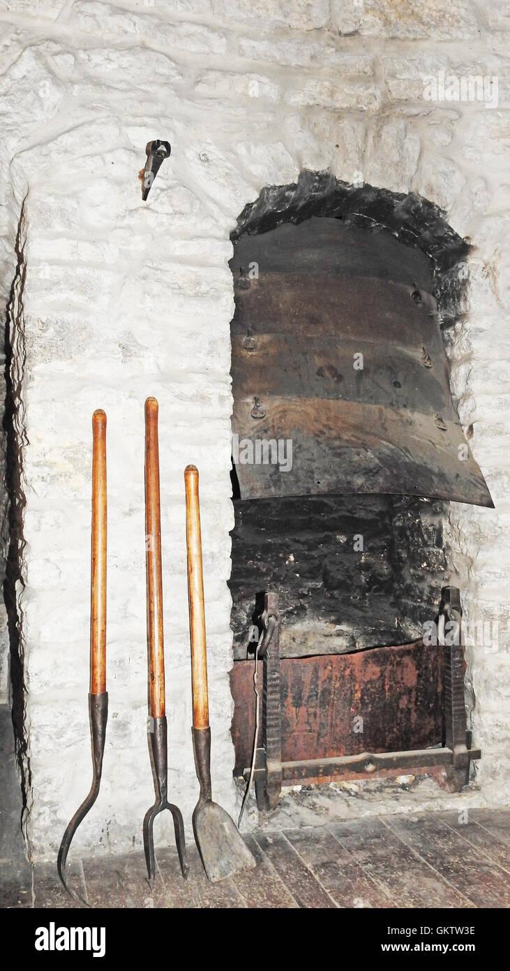 Ancienne cuisine sur bois Photo Stock