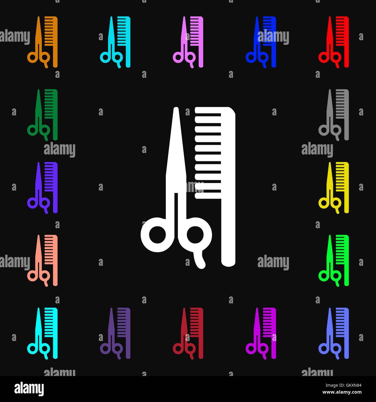 Iconi cheveux signe. Beaucoup de symboles colorés pour votre conception. Vector Illustration de Vecteur