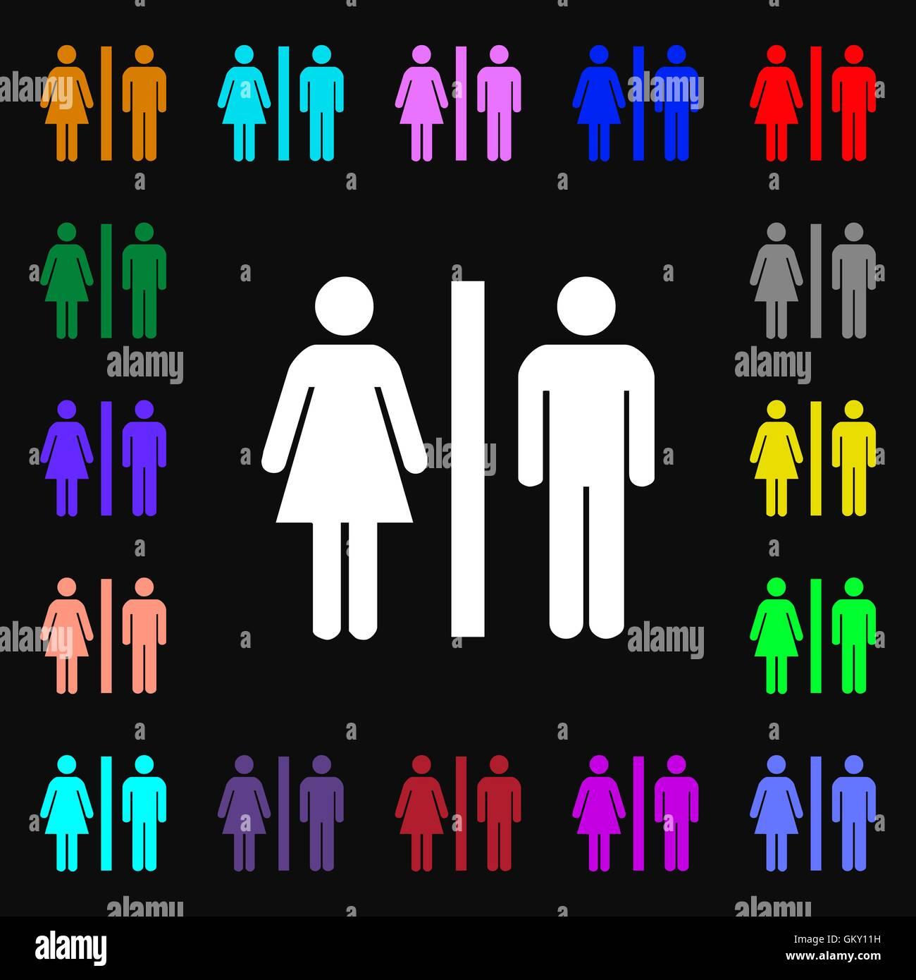 Silhouette d'un homme et une femme signe iconi. Beaucoup de symboles colorés pour votre conception. Vector Illustration de Vecteur