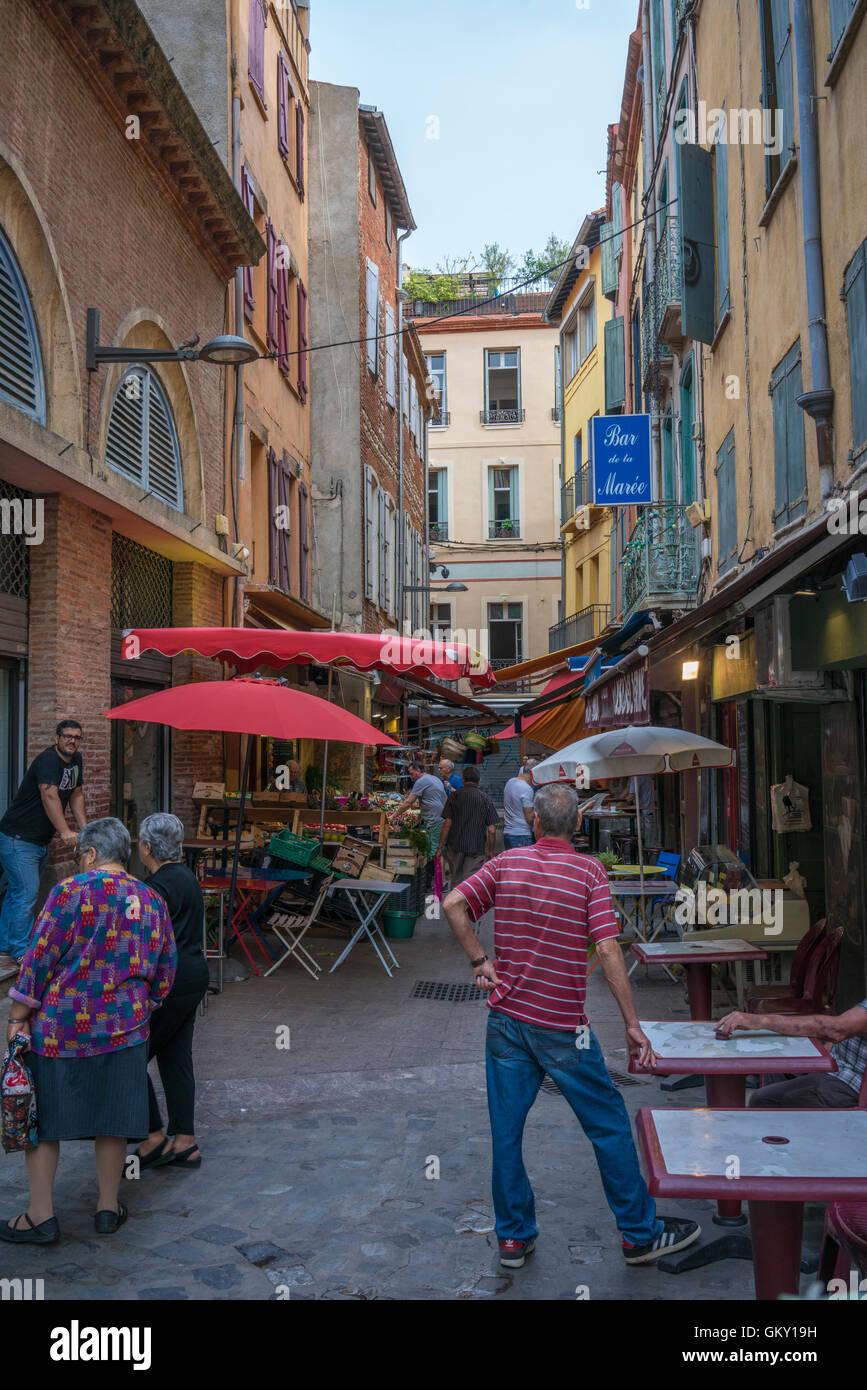Scène de rue à Perpignan, France Photo Stock
