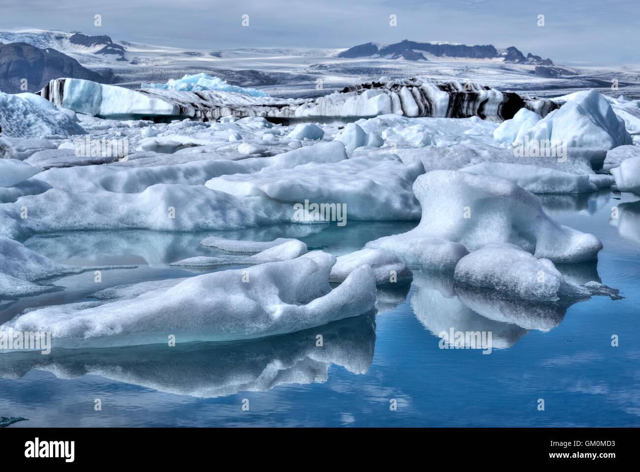 Jokulsarlon, Iceberg, Parc national du Vatnajökull, glacier Breidamerkurjokull, Islande Photo Stock