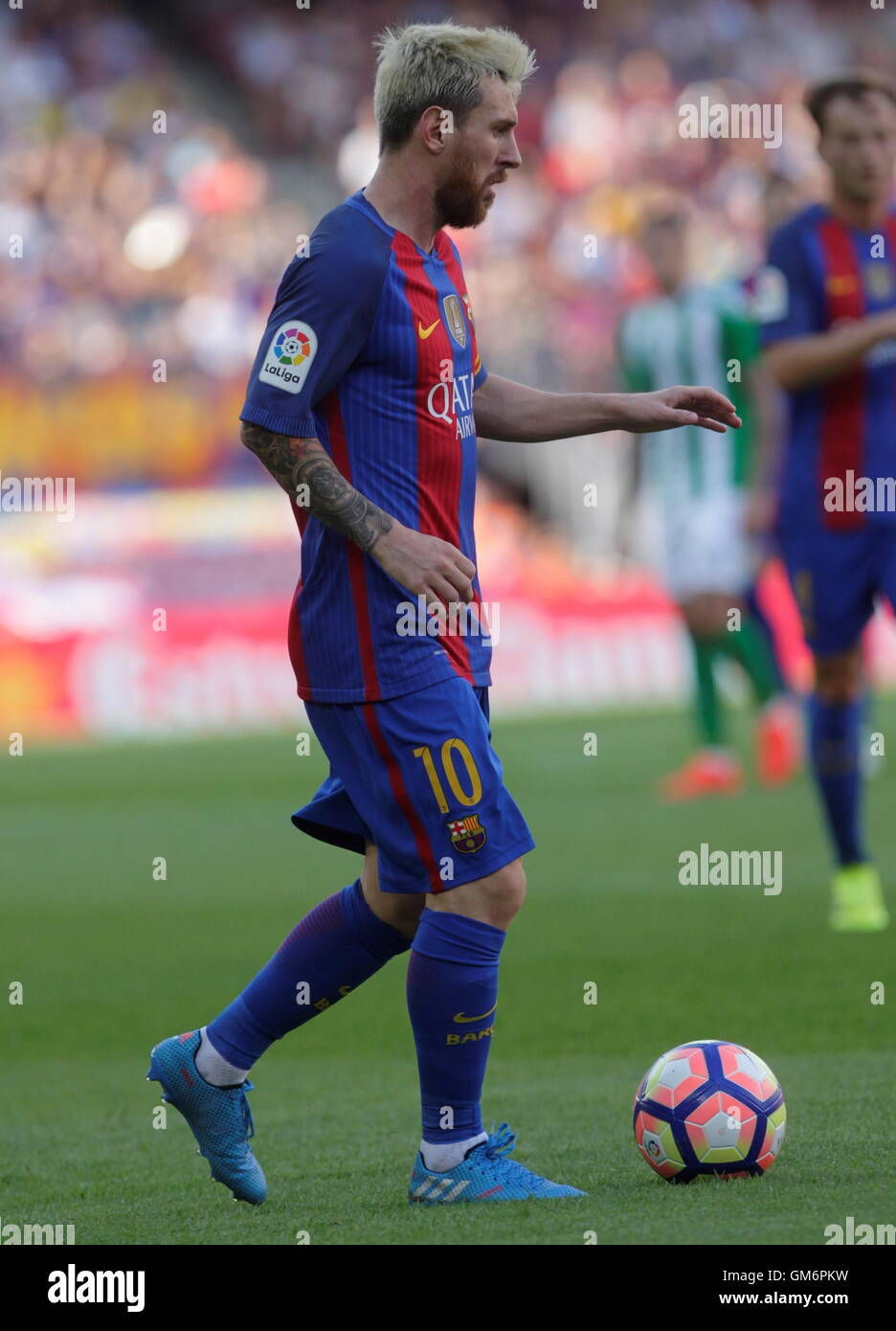 08/20/2016. Camp Nou, Barcelona, Espagne. Lionel Messi en action pendant le match de Liga espagnole FC Barcelone Banque D'Images