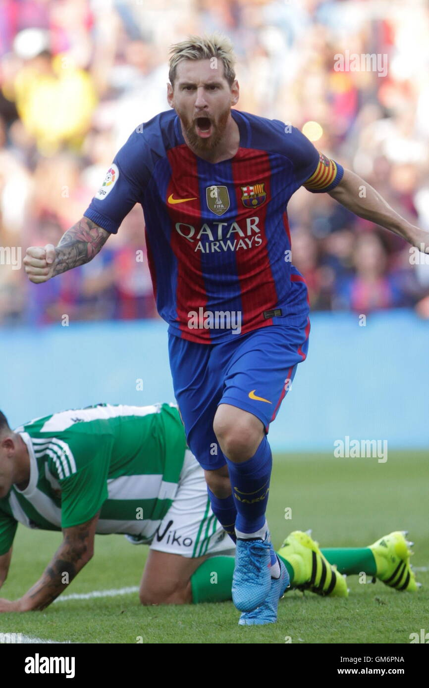 08/20/2016. Camp Nou, Barcelona, Espagne. Lionel Messi but dans le match FC Barcelone Liga espagnole - Betis Séville Photo Stock