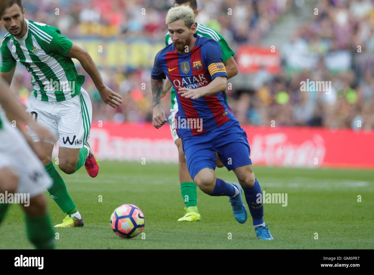 08/20/2016. Camp Nou, Barcelona, Espagne. Lionel Messi en action pendant le match de Liga espagnole FC Barcelone Photo Stock