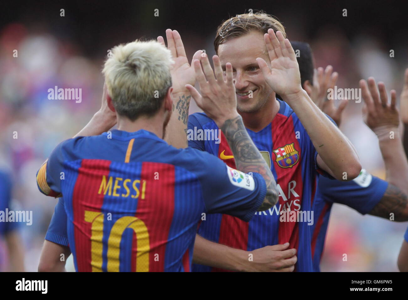 08/20/2016. Camp Nou, Barcelona, Espagne. Lionel Messi célébration but lors du match FC Barcelone Liga Photo Stock