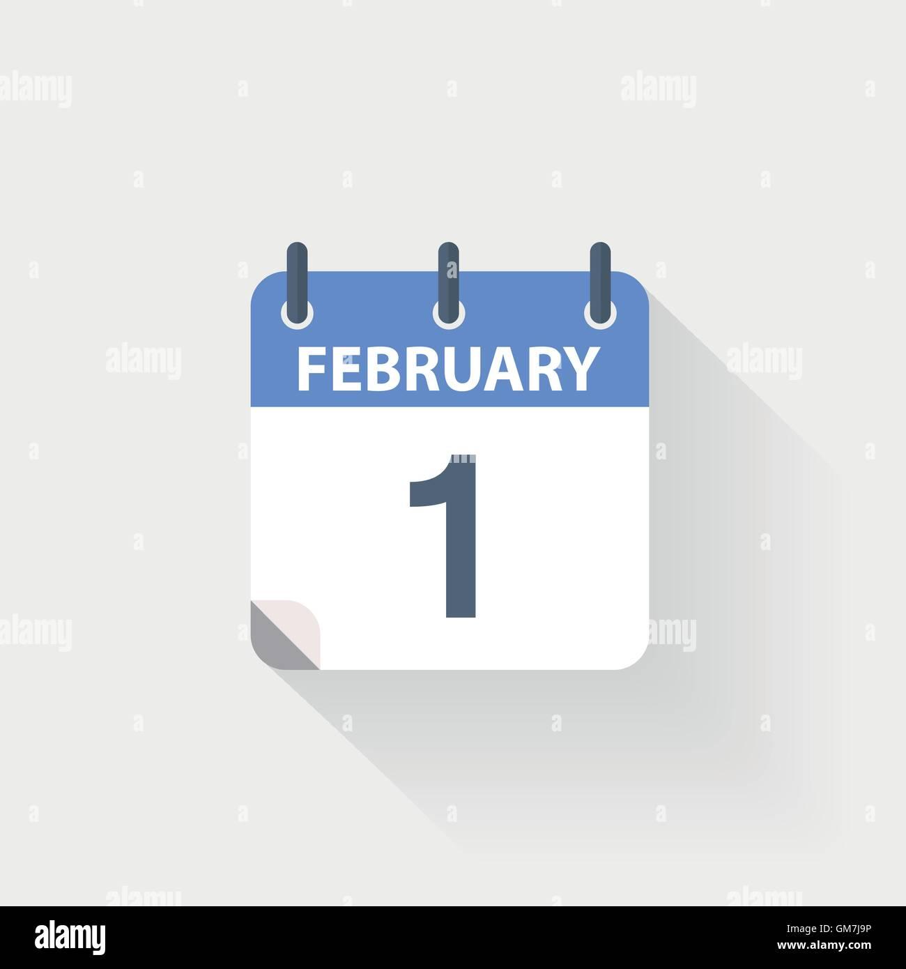 1, calendrier, icône, février, jour, vecteur, illustration, mois, jour, année, design, télévision, Photo Stock