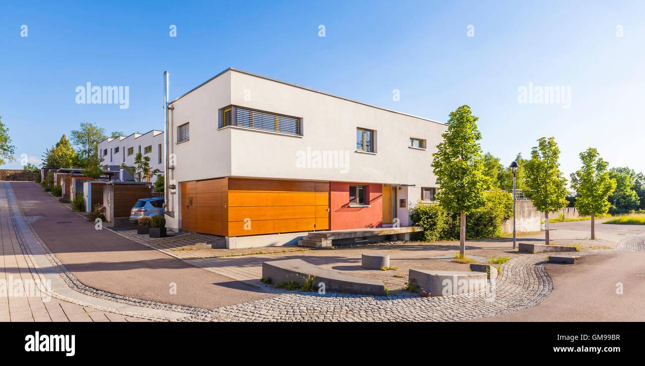 Allemagne, Esslingen-Zell, zone de développement avec les maisons passives Photo Stock