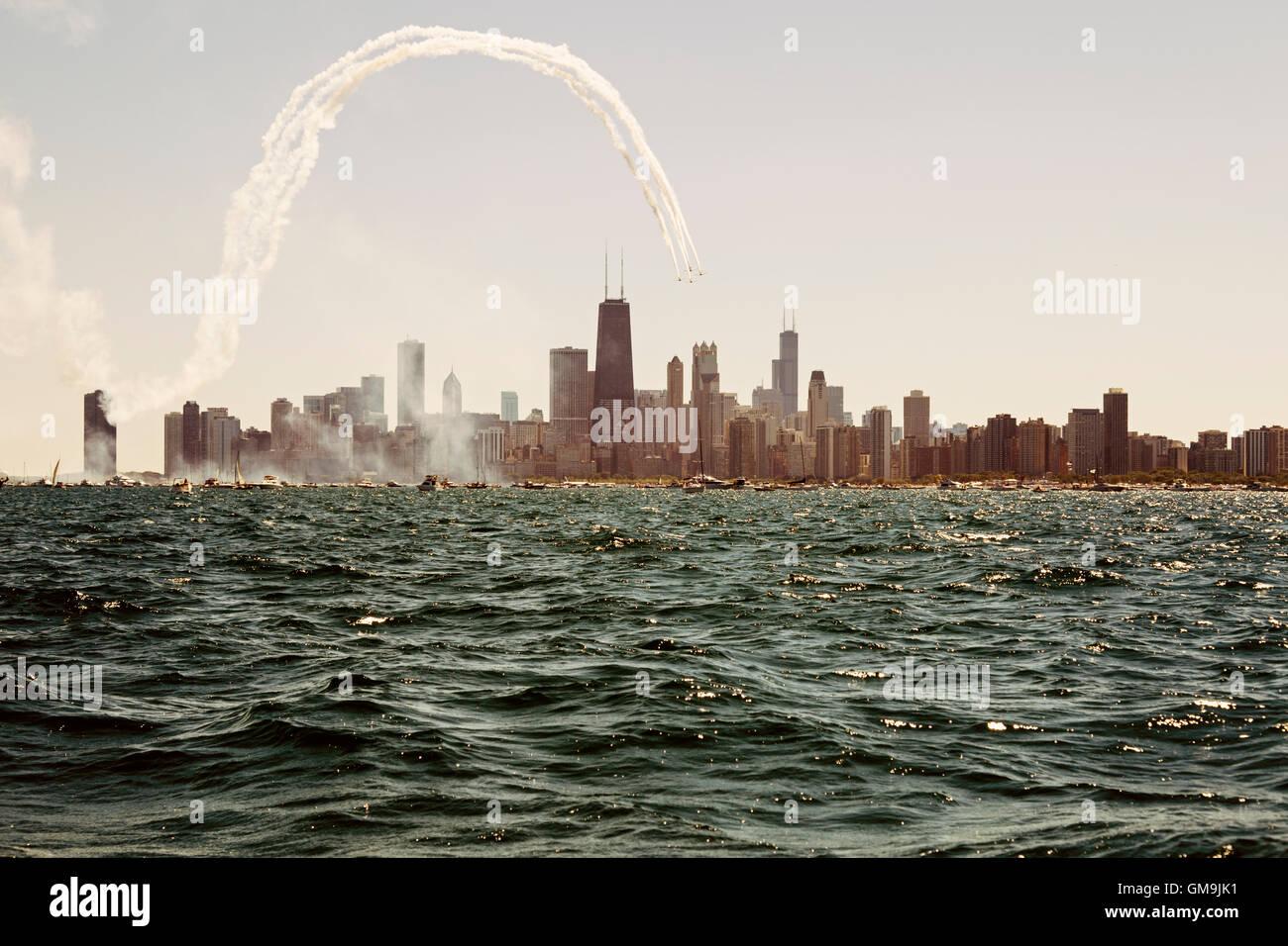 L'Illinois, à Chicago, le lac Michigan et sur les toits de la ville avec des gratte-ciel Photo Stock