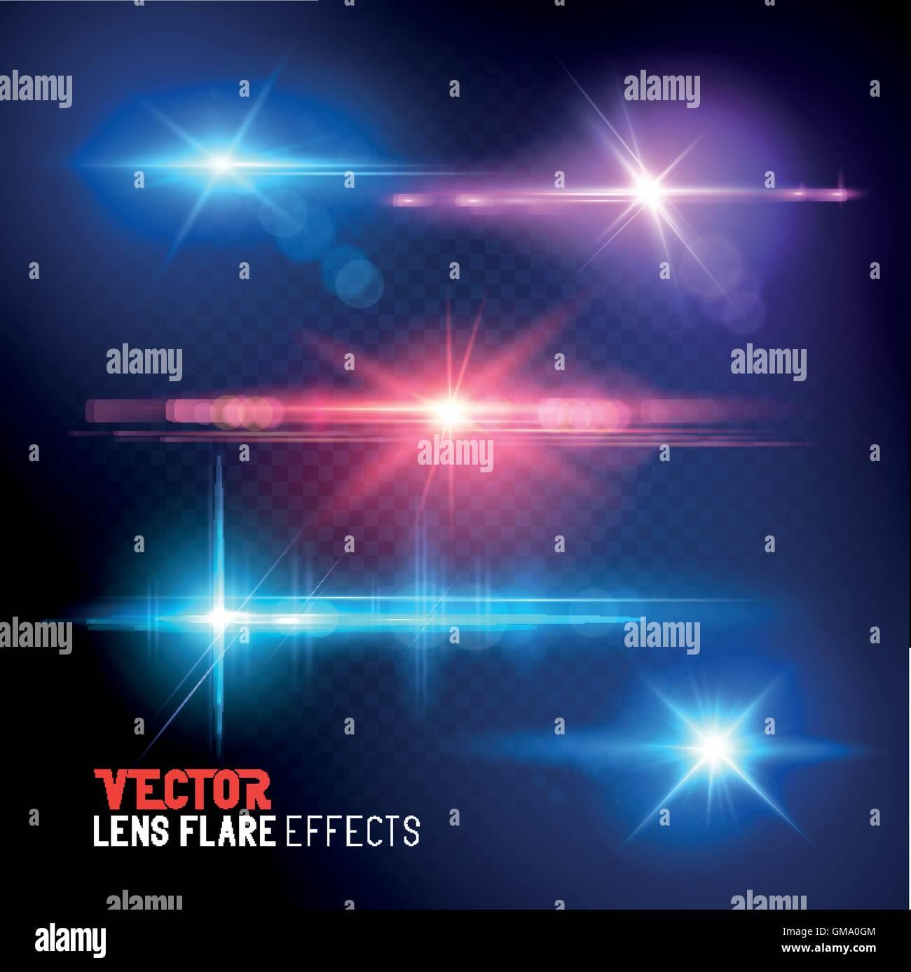 Un ensemble de vecteur des reflets et la lumière du soleil des torches - effets spéciaux. Illustration de Vecteur