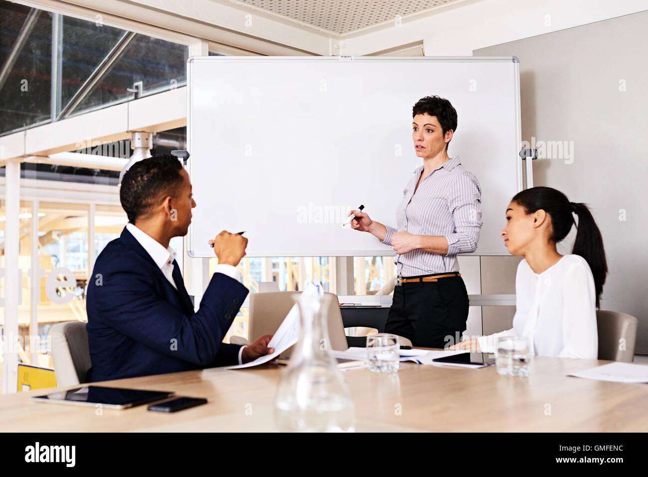 Young caucasian businesswoman donnant une présentation d'autres membres du conseil Photo Stock