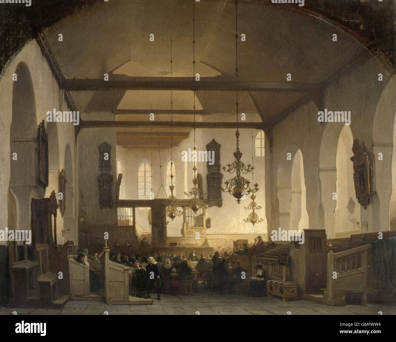 Un Service dans le Geertekerk, Utrecht, par Johannes Bosboom, 1852, la peinture hollandaise, huile sur toile. Paroissiens Photo Stock