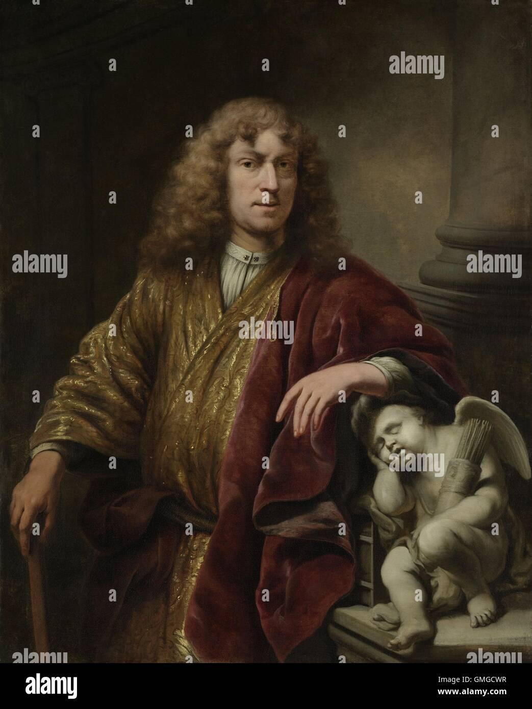 Autoportrait, par Ferdinand Bol, 1669, la peinture hollandaise, huile sur toile. Peint à l'occasion du Photo Stock