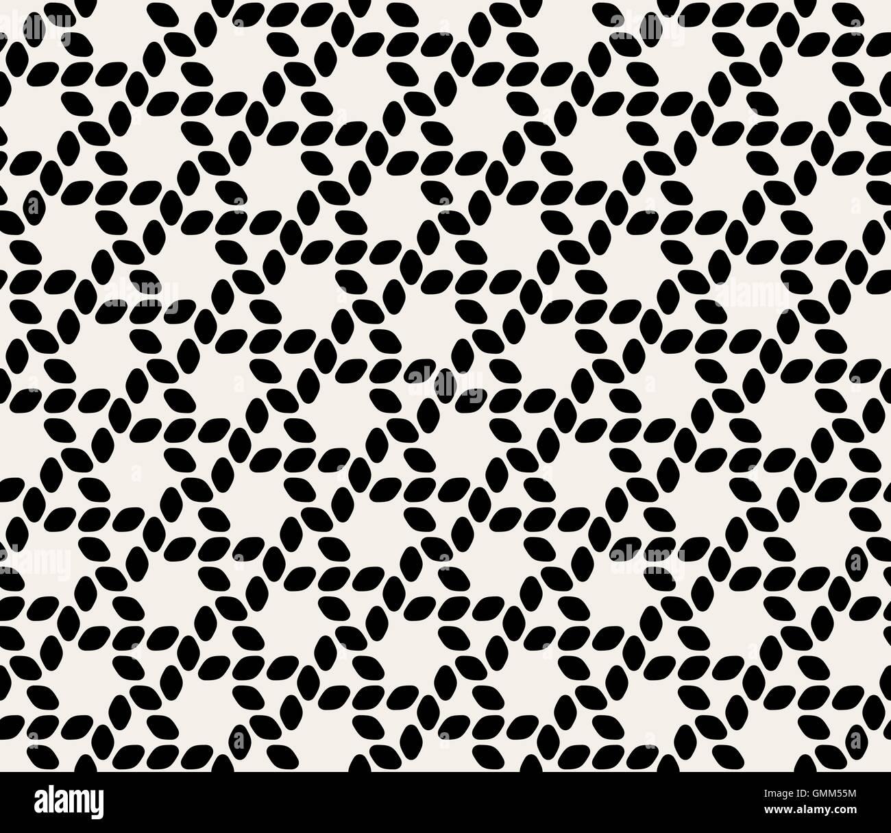 Seamless Vector Ellipse Noir & Blanc arrondie hexagonale motif de lignes de corde Photo Stock