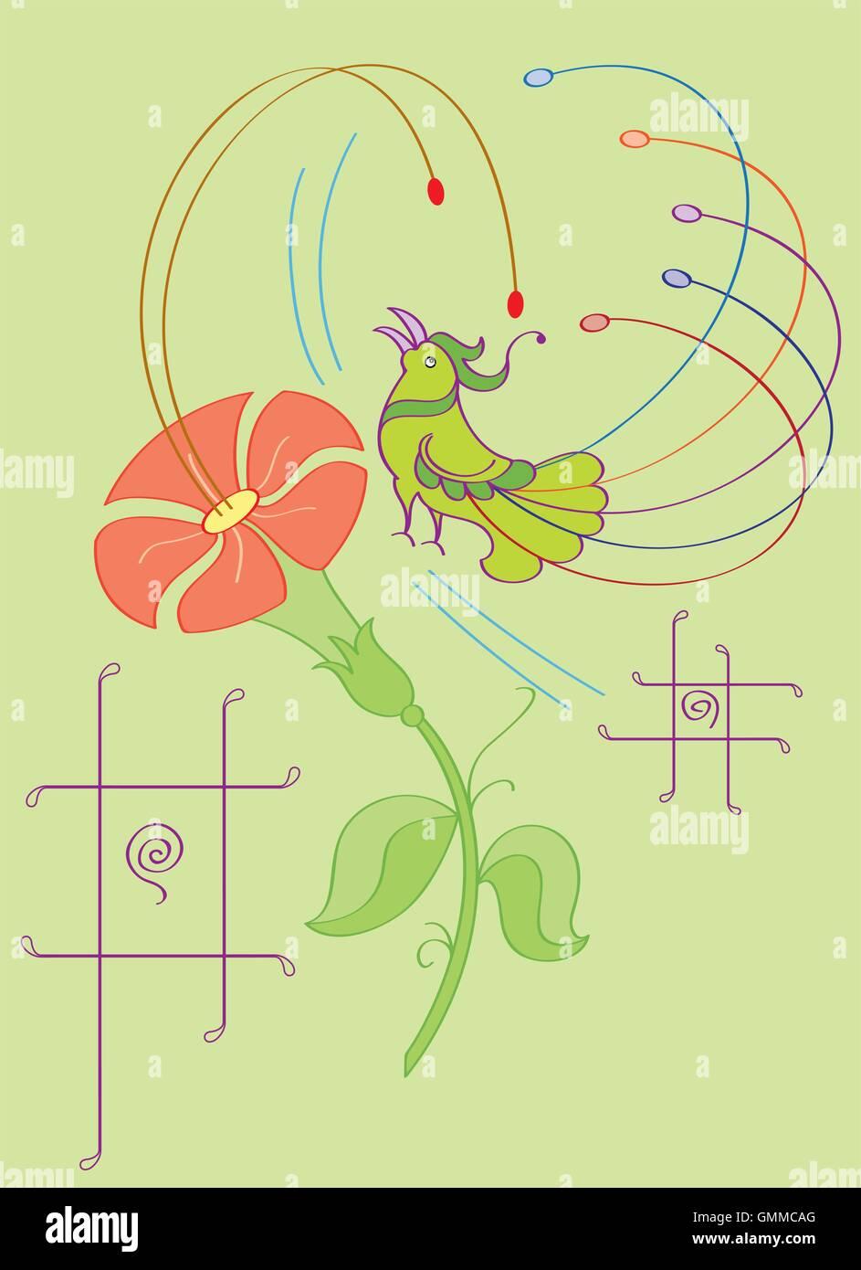 Oiseau artistique avec des fleurs Illustration de Vecteur